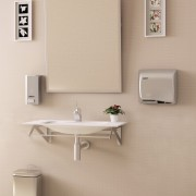 Dualflow Plus hand dryer re-styled: no more water on the floor. Goodbye to the slip accidents.